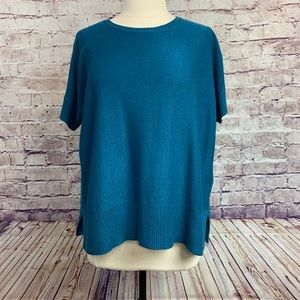 Eileen Fisher Turquoise Short Sleeve Sweater